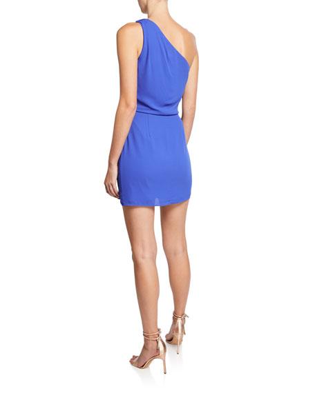 One-Shoulder Drape-Front Mini Dress