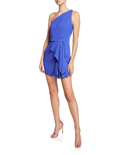 One-Shoulder Drape-Front Mini Dress