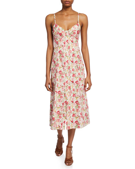 Petersyn Lexie Floral-Print Sweetheart Button-Front Dress