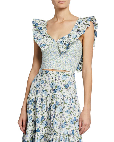 Sybil Floral-Print Sleeveless Crop Top with Pleated Trim