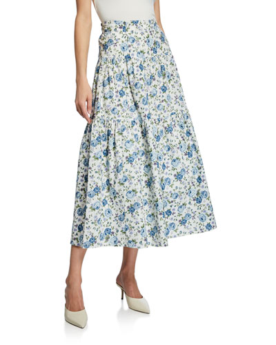 Rocco Floral-Print Multitiered A-Line Midi Skirt