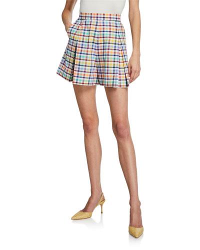 Amalfi High-Rise Check Pleated Shorts