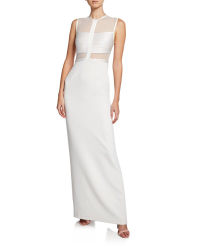 High-Neck Sleeveless Column Gown w/ Mesh Top & Strip Detail