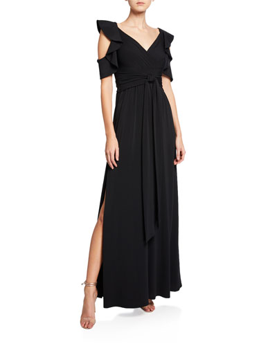 V-Neck Cold-Shoulder Flutter-Sleeve Jersey Gown