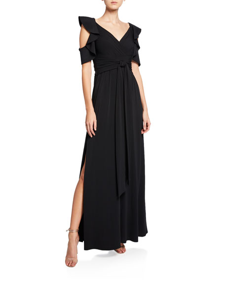 Halston Heritage V-Neck Cold-Shoulder Flutter-Sleeve Jersey Gown