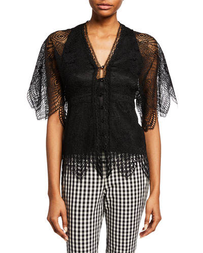 Scheana Button-Front Short-Sleeve Scallop Lace Blouse
