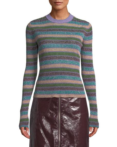 McQ Alexander McQueen Metallic Striped Ribbed Sweater