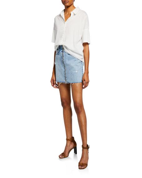 9151fc8b2 Rag & Bone Anna Zip-Front Frayed Denim Mini Skirt