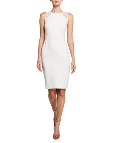 Sleeveless High Neck Dress With Lace Strip Detail by Halston