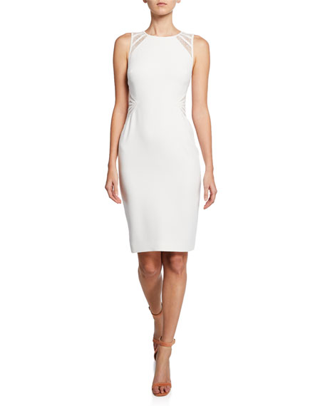 Halston Heritage Dresses SLEEVELESS CREPE DRESS WITH LACE STRIP DETAIL