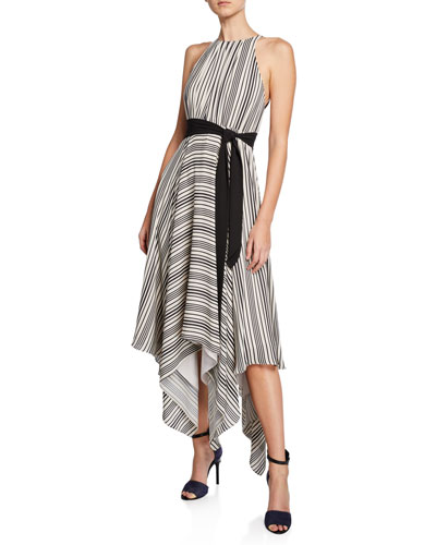 Striped Halter Handkerchief Dress w/ Strappy Back