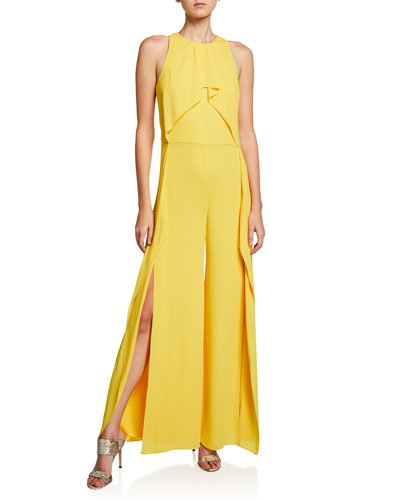 4ee5bcec0a Promotion Sleeveless High-Neck Flowy Drape Front Wide-Leg Jumpsuit