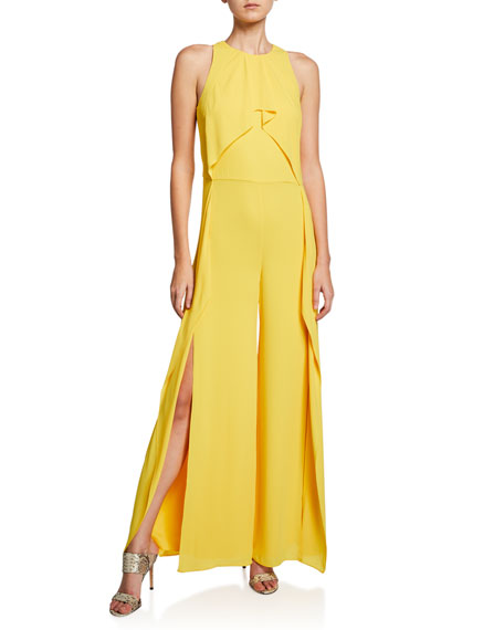 072358d6f4a Halston Heritage Sleeveless High-Neck Flowy Drape Front Wide-Leg