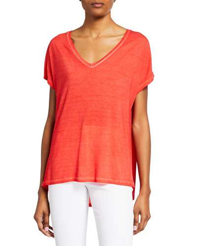 Hand Dyed V-Neck Short-Sleeve Boxy Silk Tee
