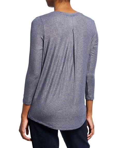 Extra-Fine Metallic V-Neck 3/4-Sleeve Top w/ Inverted Back Pleat