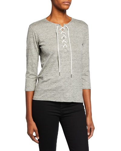 Linen-Blend Lace-Up 3/4-Sleeve Top