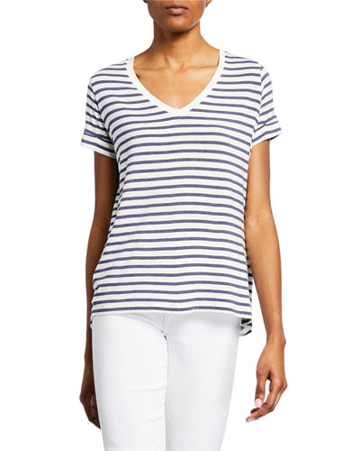 Soft Touch Striped V-Neck Tee w/ Back Pleat