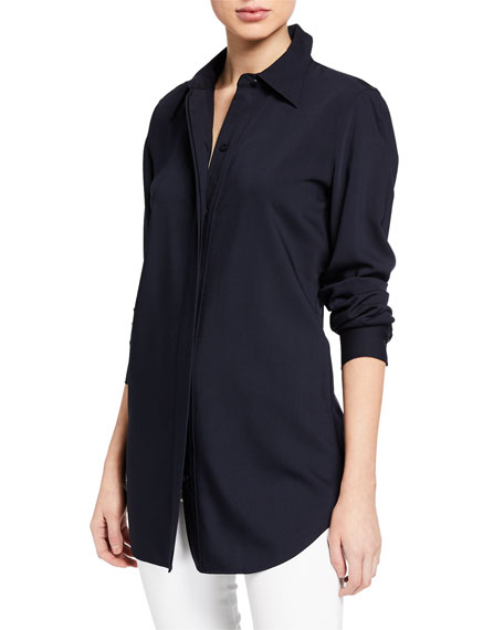 Olga Button-Front Long-Sleeve Blouse