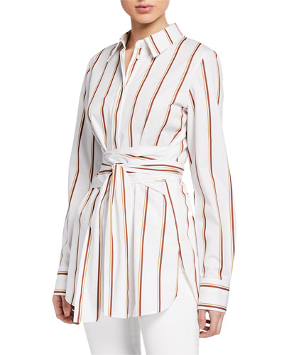 Cordelia Striped Button-Down Long-Sleeve Cotton Blouse