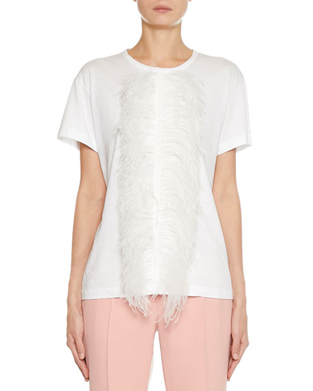 N°21 T-shirts MIDDLE FEATHER SHORT-SLEEVE T-SHIRT