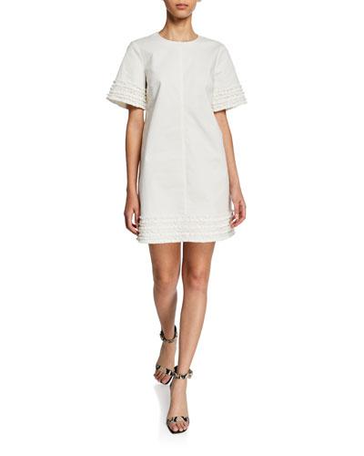 Ashton Military Twill Short-Sleeve Shift Dress