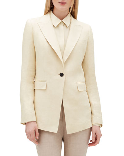 Atticus Peak-Lapel One-Button Linen Jacket