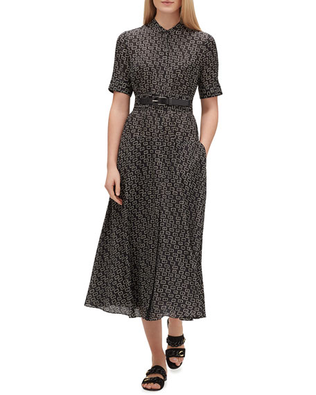 Augustina Piazza-Print Belted Shirtdress