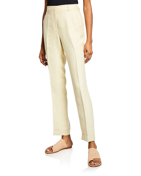 Lafayette 148 New York Straight-Leg Cuffed Linen Pants