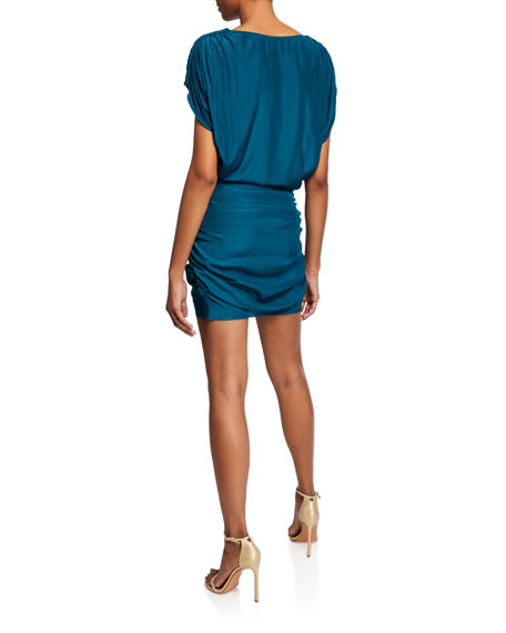 Adella V-Neck Shirred Mini Dress