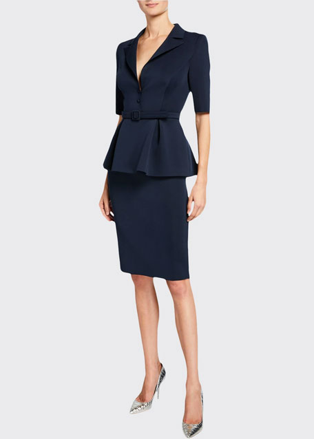 Badgley Mischka Collection Elbow-Sleeve Retro Peplum Coat Dress