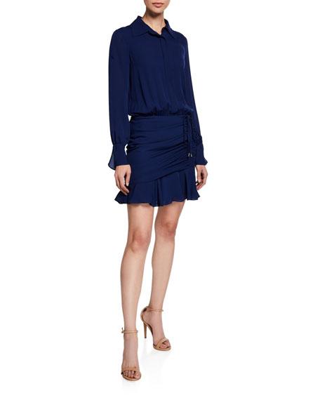Ramy Brook Berkley Shirred Flounce Shirt Dress