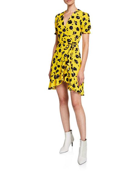 f8c16dee433 Diane von Furstenberg Emilia Printed Short-Sleeve Flouncy Wrap