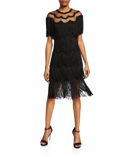 Beaded Fringe Dress w/Sheer Yoke