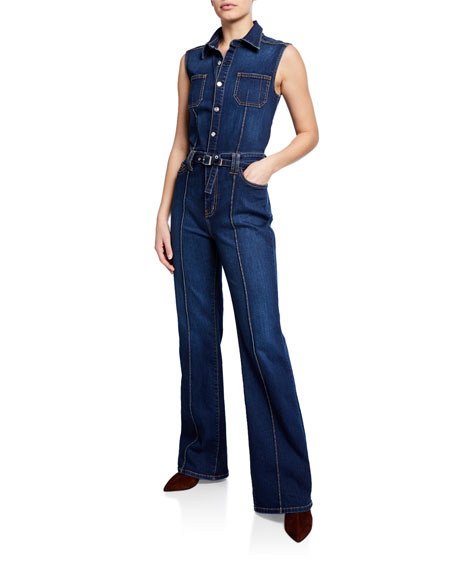 ff5acad2488 ALICE + OLIVIA JEANS Gorgeous Wide-Leg Fitted Denim Jumpsuit