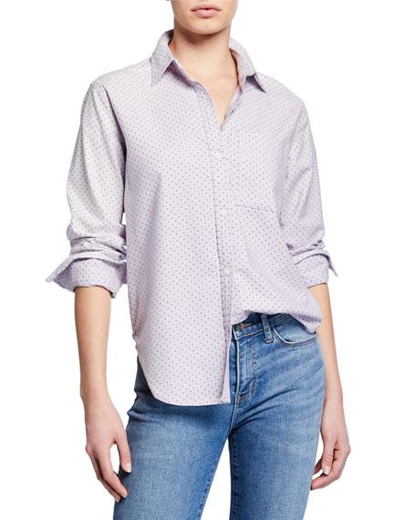 Current/Elliott The Neal Button-Front Polka-Dot Shirt