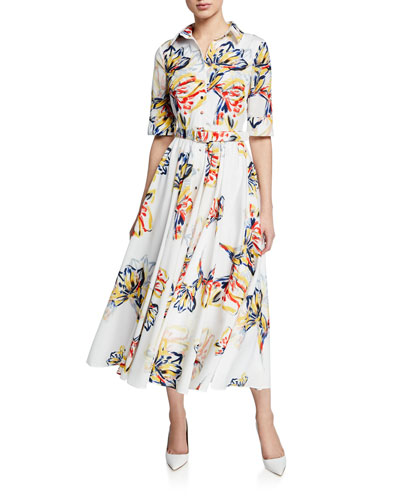 Floral-Print Button-Down Elbow-Sleeve Belted Shirtdress