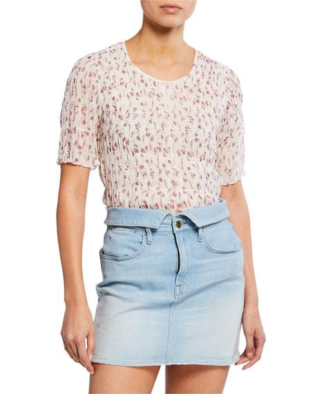Frame Shorts FLORAL-PRINT SMOCKED SHORT-SLEEVE TOP