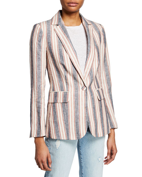 Striped Linen Single-Button Blazer