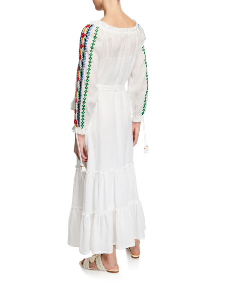 Embroidered Split-Neck Long-Sleeve Peasant Dress