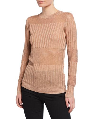Andrea Ribbed Metallic Sweater