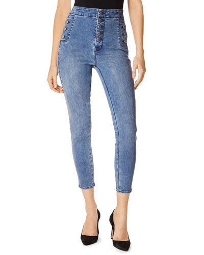 Natasha High Rise Button Detail Skinny Jeans