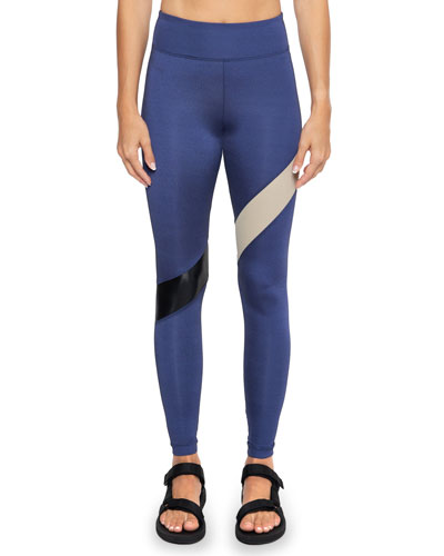 Aello Colorblock-Stripe Shantung Leggings
