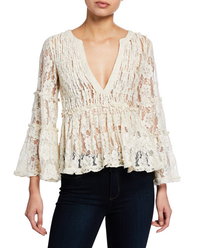 Tanisa V-Neck Floral-Lace Peplum Top