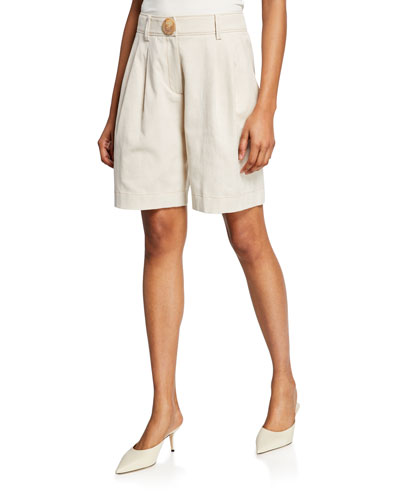 Renee Pleated Linen-Blend Shorts
