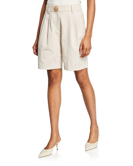 REJINA PYO Renee Pleated Linen-Blend Shorts