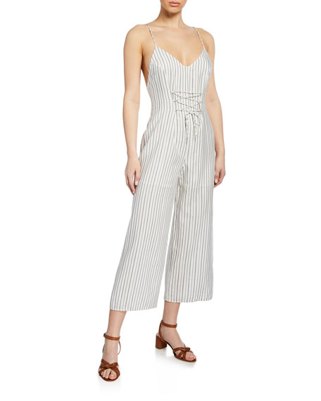 Image 1 of 1: Adeline Stripe V-Neck Palazzo Jumpsuit