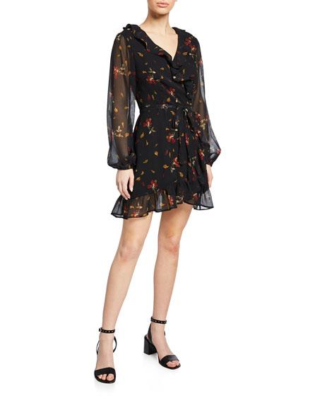 Shawna Floral-Print Mini Wrap Dress