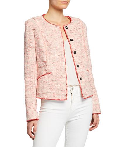 Alianna Button-Front Tweed Jacket