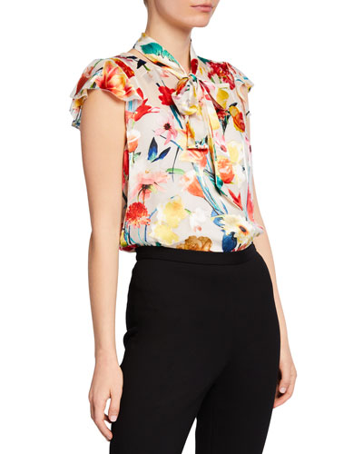Bryce Floral-Print Blouse with Detachable Neck-Tie