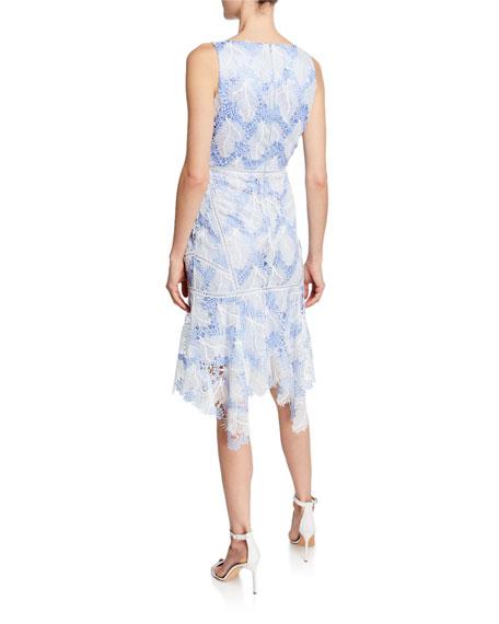 Mariya V Neck Sleeveless Flounce Hem Lace Cocktail Dress